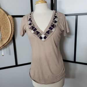 Threads 4 Thought embroidered vneck tee